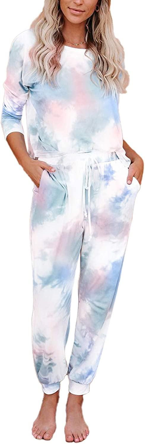 Womens Tie Dye Sweatsuits Set 2 Piece Loungewear Outfits Long Sleeve Pullover Drawstring Sweatpants Jogging Tracksuits
