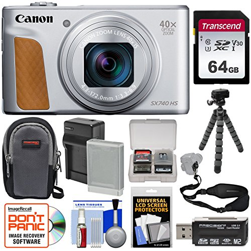 Canon PowerShot SX740 HS Wi-Fi Digital Camera (Silver) with 64GB Card + Battery & Charger + Case + Tripod + Strap + Kit