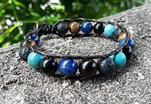 Turquoise leather bracelets,stone bracelets,men bracelets,lapis bracelets,lava bracelets,onyx bracelets,tiger eye bracelets (Bracelet Turquoise Lapis)
