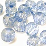 200 pieces 4mm Crackle Glass Beads - Pale Blue - A1404