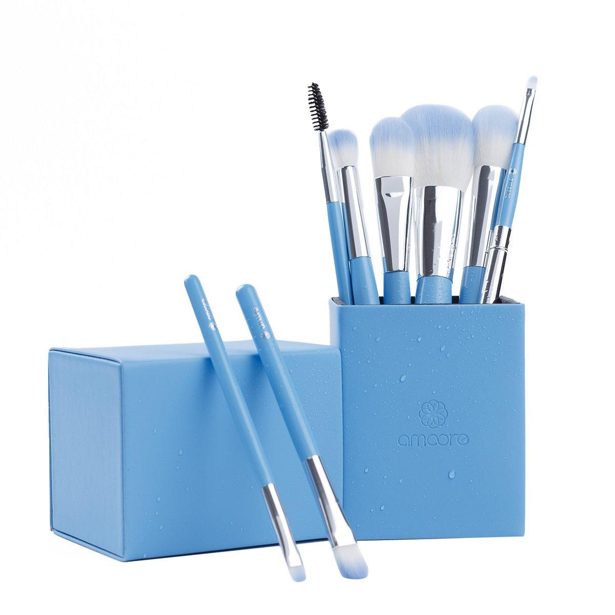 amoore 8 pcs Makeup Brush Set with Makeup Brushes Holder Foundation Brush Powder Brush for Blush Eyeshadow Eyelash Eyebrow and Lip (8 Pcs, Lake Blue)