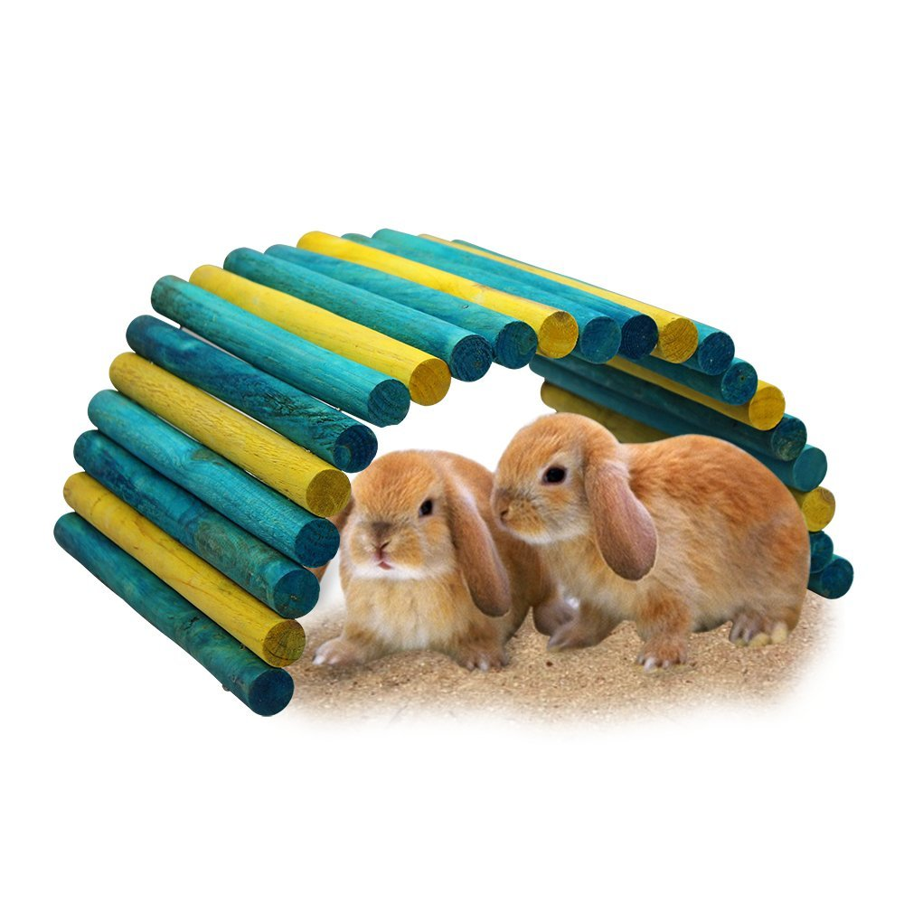 B&P Color Fiddle Sticks Hideout- 21.7x11.02x0.98 Large Folding Wood Fence Ladder Bridge for Rabbits,Ferrets, Guinea Pigs, Chinchilla and Other Small Pet Cage Accessories (Blue/Green+Yellow, XXL)