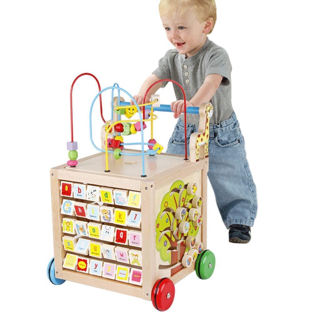 ZaiQu Kinder Educational Perlen Perlen Früher Unterricht Schritt Auto multifunktions Große Gear Baby Multi-Farbe Buchstaben Holzkiste Kinderspielzeug