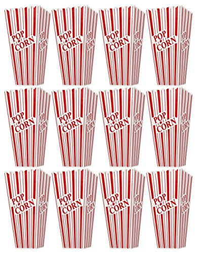 12 Theater Boxes - Set of 12 Popcorn Plastic Container Box Tub Bowl 7-3/4 x 3-3/4 x 3-3/4 - Presentation Is Everything