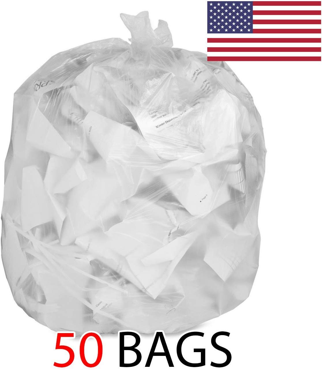 Strong Clear Trash Bags, Transparent See Through Garbage Bags (50, 55 Gallon) by Ox Plastics