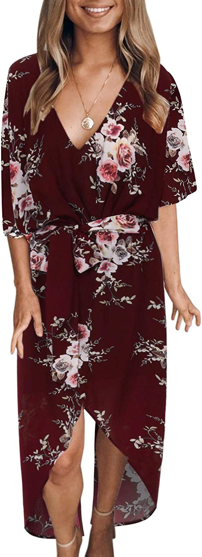 YOINS Femme Robe Maxi /Ét/é Chic Robe Longues Imprim/é Florale Long Robe /Él/égante Col V Robe Soir/ée /Épaules Nus