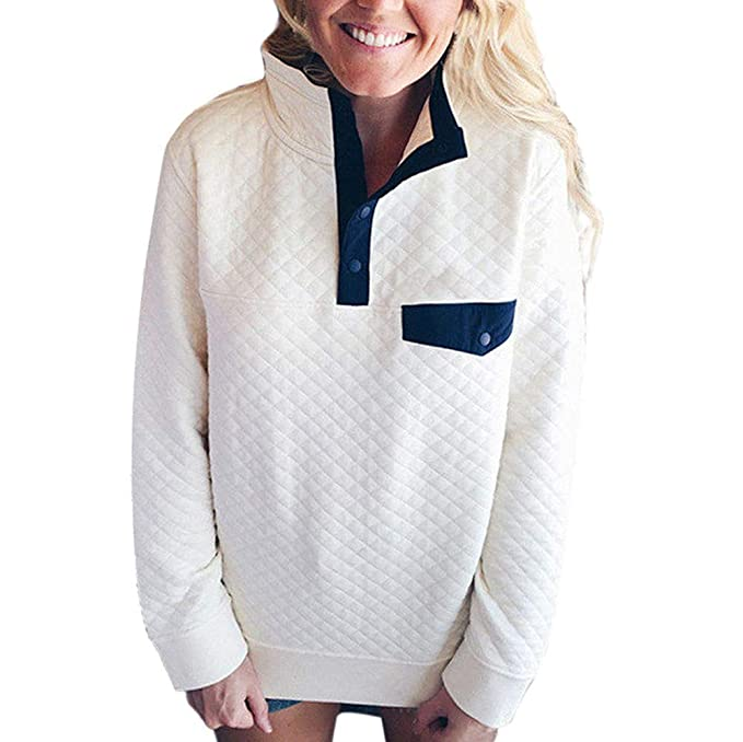 Amazon.com: Hpapadks Fashion Womens Long Sleeve Lattice Button Sweatshirt Pullover Blouse Tops Womens Funnel Neck Check Contrast: Clothing