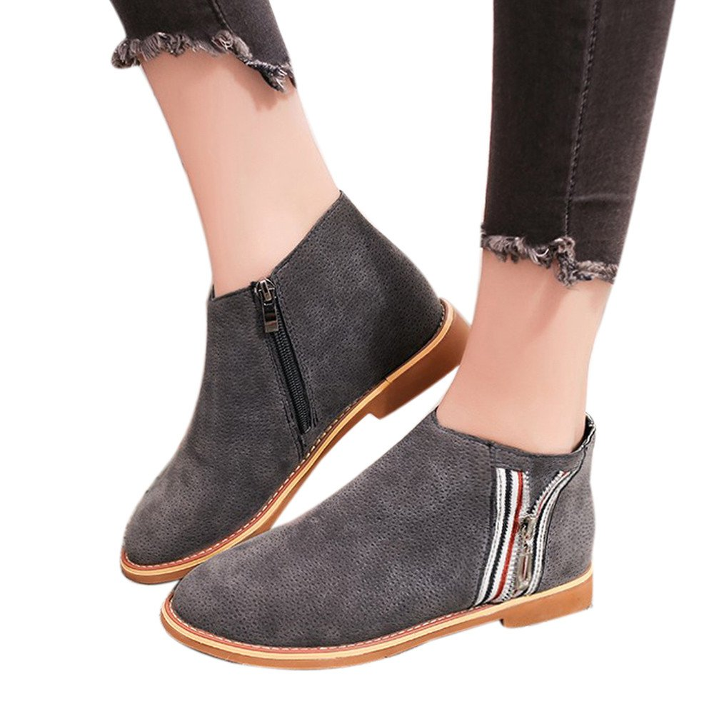 Shoes For Womens Clearance Sale ,Farjing Fashion Vintage Women Ankle Boots Soft Leather Flat Shoes Comfortable Boot Shoes(US:7,Gray)