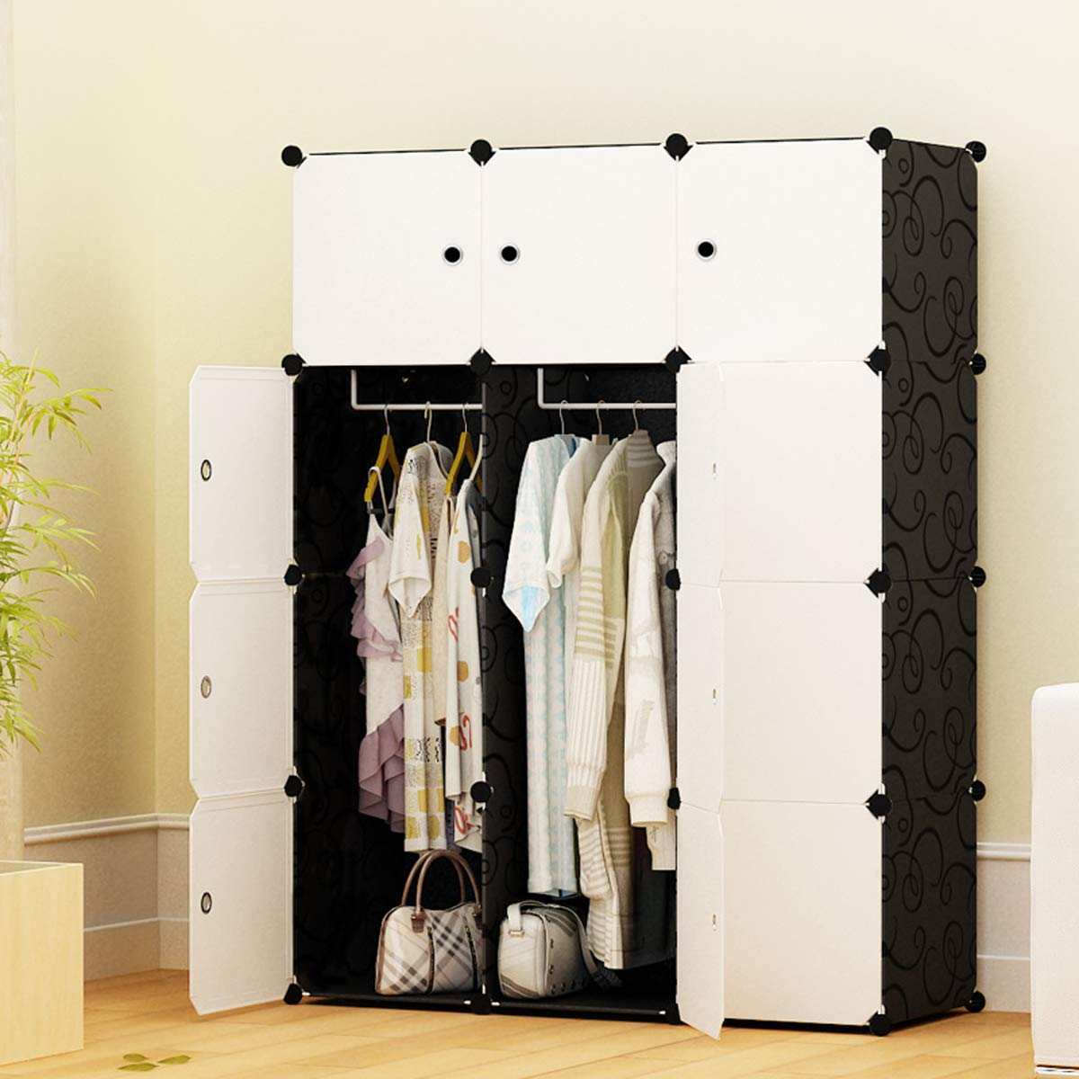 COLESHOME Portable Wardrobe Storage Organizer Cube Armoire Modular Cabinet for Space Saving for Bed Room Living Room(6 Cube 2 Hanger, Black) by COLESHOME