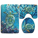 Sea Turtle Art Skidproof Toilet Seat Cover Bath Mat Lid Cover