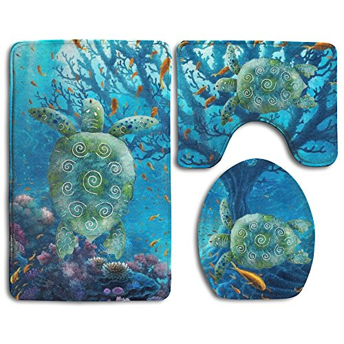 Sea Turtle Art Skidproof Toilet Seat Cover Bath Mat Lid Cover by Bralla