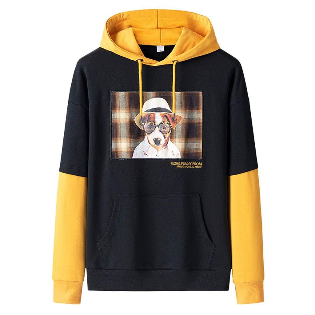VZEXA Mens Hoodies Autumn Winter Hooded Long Sleeve Sweatshirt Stitching Color Hoody Yellow by VZEXA