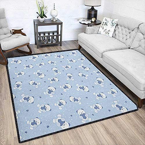 - Boys Super Soft Area Rug,Teddy Bears on Blue Backdrop Holding Hearts Baby Shower Theme Toddler Chic Geometric Design Baby Blue Cadet Blue White 67