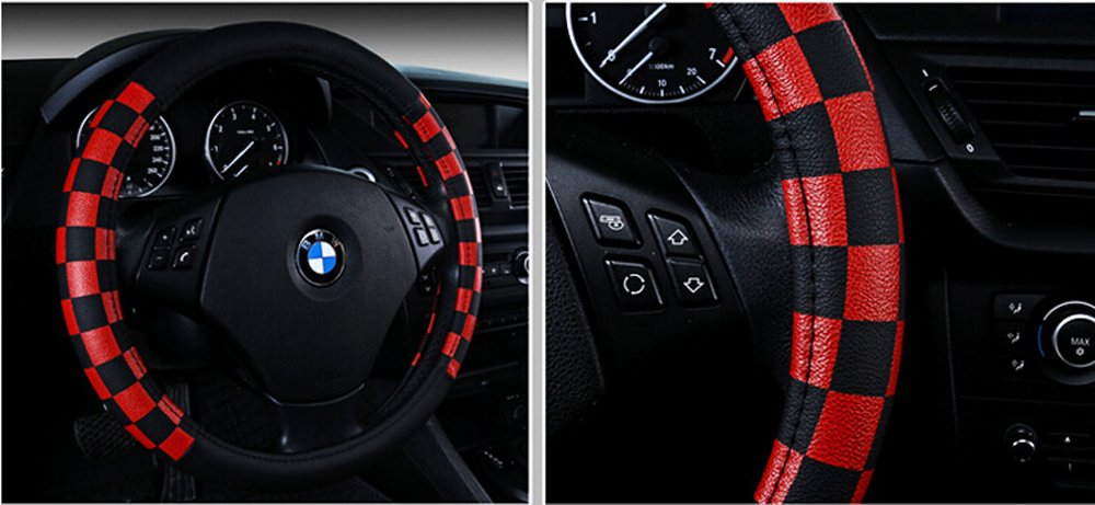 Finex PU Leather Checker Flag Black /& Red Car Steering Wheel Cover SF-172