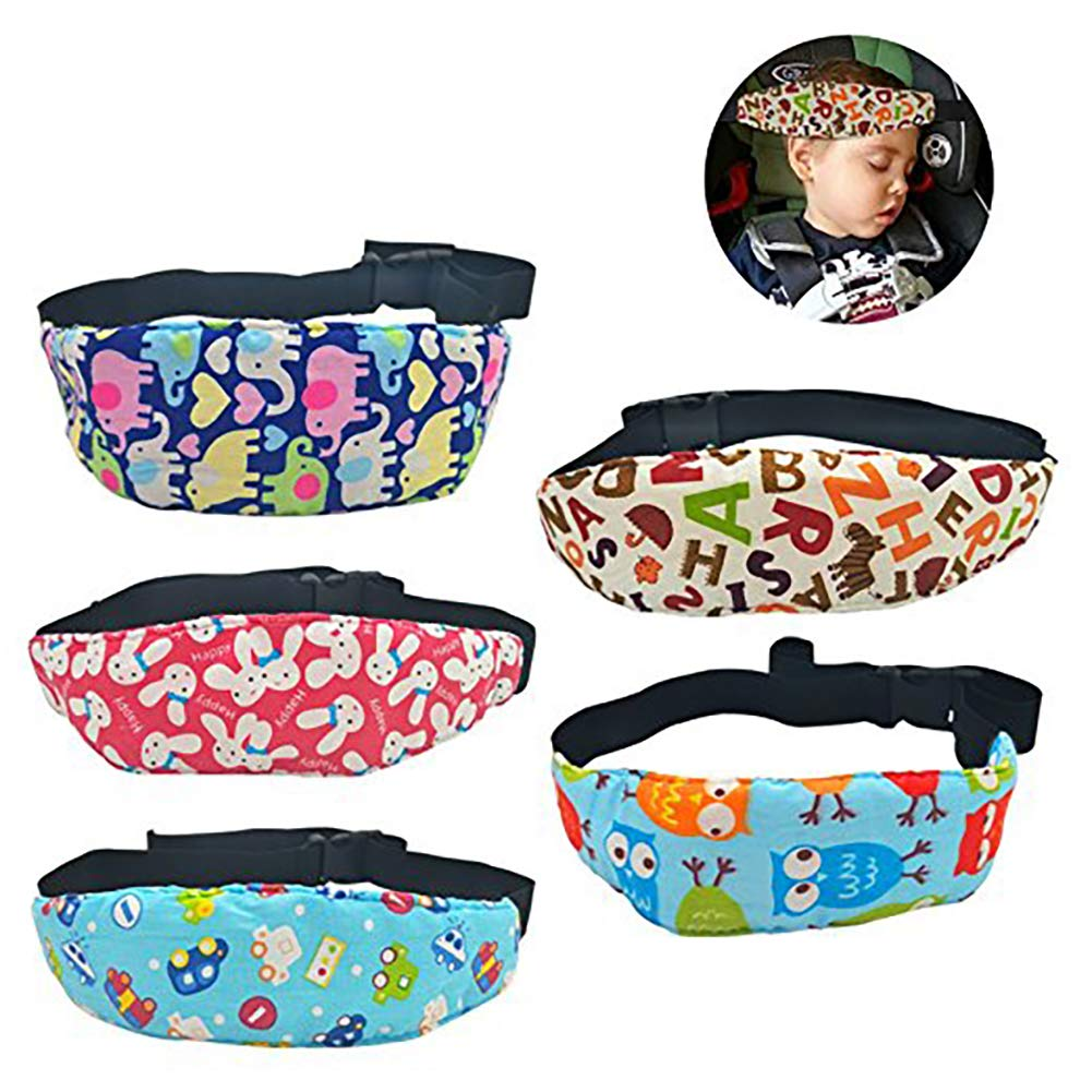 Baby Head Support Band for Car Seat, Dadiii 5 Pcs Car Seat Neck Relief Head Strap Safety Stroller Adjustable Head Holder Sleep Belt for Toddler Infants Baby Kids Girl Boy