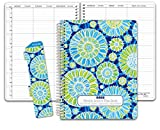 HARDCOVER 7 Period DATED Teacher Lesson Plan; Days Horizontally Across the Top Dated for 2018-2019 Academic Year (D101) (+) Bonus Clip-in Bookmark (Blue Green Flowers)