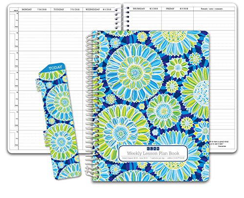 HARDCOVER 7 Period DATED Teacher Lesson Plan; Days Horizontally Across the Top Dated for 2018-2019 Academic Year (D101) (+) Bonus Clip-in Bookmark (Blue Green Flowers) by Elan Publishing Company