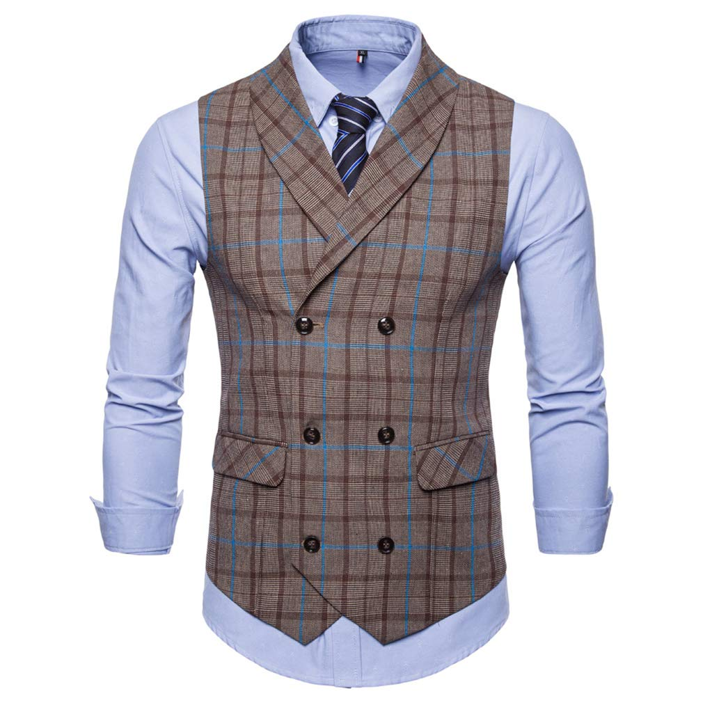Kootk Men Sleeveless Business Vests Striped Men Double Breasted Wedding Suit Vests Slim Fit