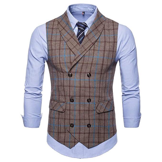 Cheyuan Chaleco para Hombre Chalecos de Moda para Hombre de la Vendimia Formal Colete Social Slim