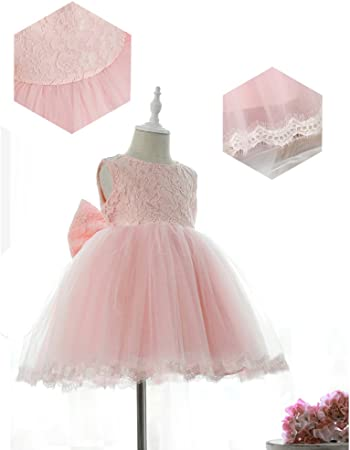 Il vestito da partito dei vestiti da partito delle neonate dei capretti fiorisce la principessa Bowknot della damigella donore di cerimonia nuziale del vestito Pink 100cm 2-3years