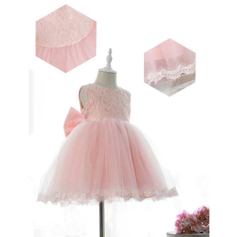 Vestido de fiesta de los beb/és de los cabritos del beb/é Vestido de boda floral del cord/ón de la dama de honor del bowknot de la princesa viste blanco 1-2years 90cm