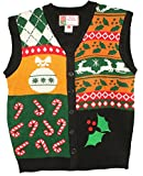 Blue Star Clothing Unisex Ugly Christmas Holiday Pullover V-Neck Knit Vest Sweater Deck the Halls Small