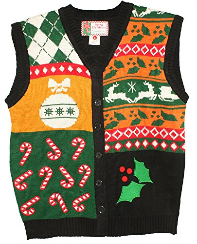- Blue Star Clothing Unisex Ugly Christmas Holiday Pullover V-Neck Knit Vest Sweater Deck the Halls Small