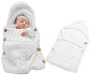 Neugeborenes Baby Gestrickt Wickeln Swaddle Decke Schlafsack Für 0 12 Monat Baby White