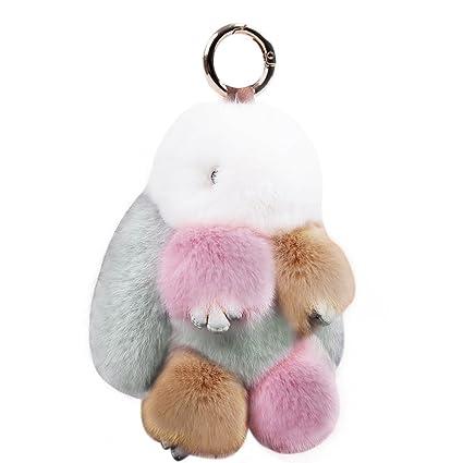 KUMEED Rex Rabbit Bunny Keychain Easter Rabbit Fur Fluffy Cute Pom Pom Key  Ring Pendant Key 0972a04ad
