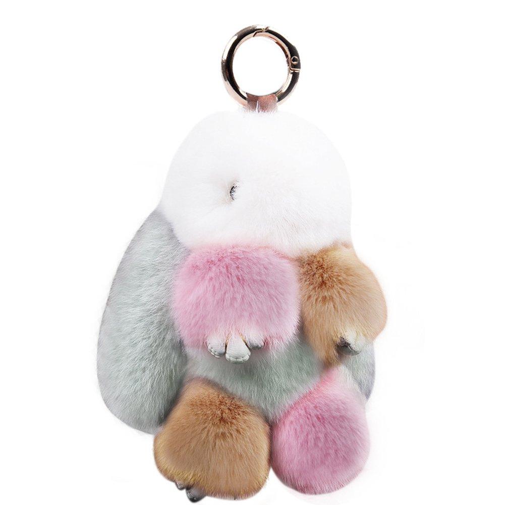 692902018f KUMEED Rex Rabbit Bunny Keychain Easter Rabbit Fur Fluffy Cute Pom Pom Key  Ring Pendant Key