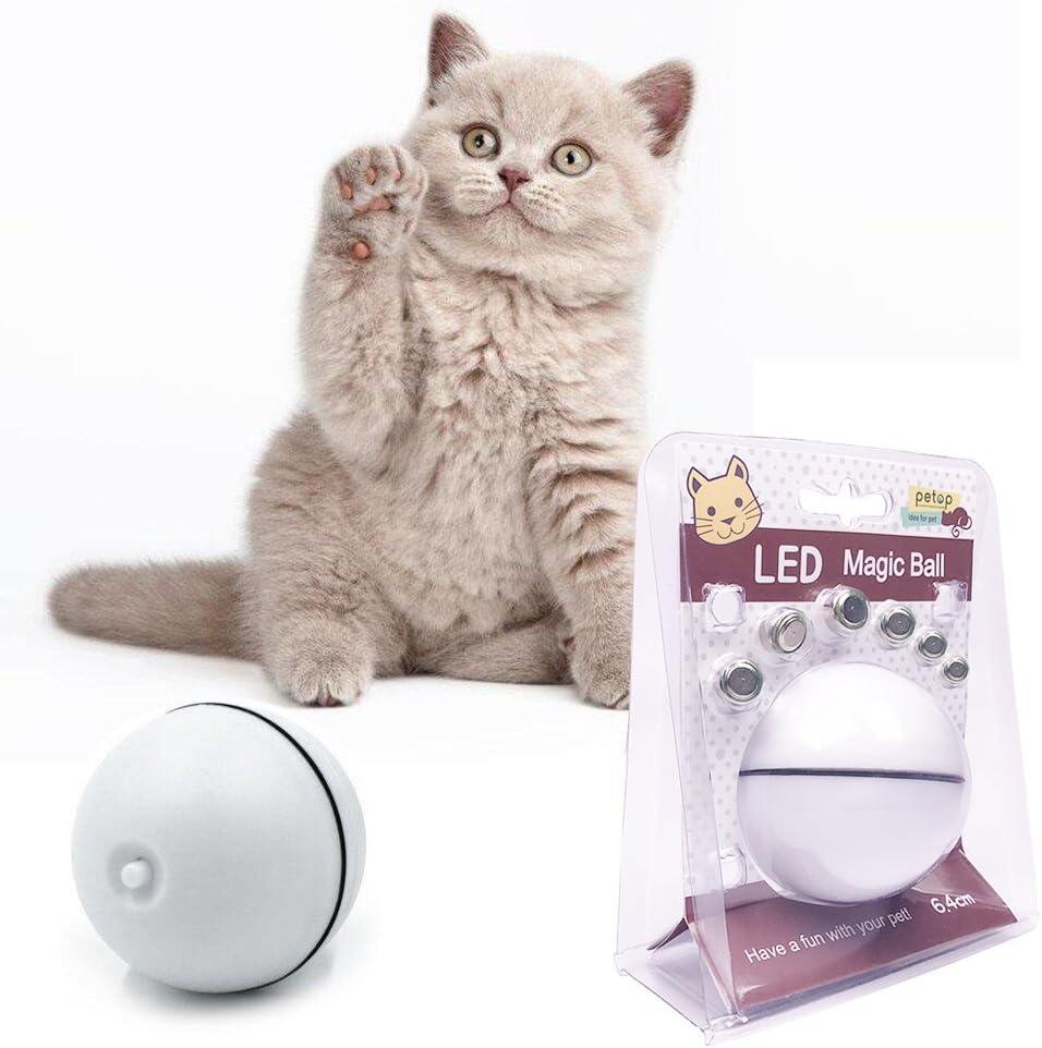 Juguete del gato Juguetes de gatito Juguete de perro Juguete cachorro Bola electrónica del juguete Automático giratorio eléctrico de la bola giratoria de la bola - Mejor juguete interactivo para gato /