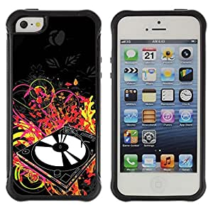 "Pulsar iFace Series Tpu silicona Carcasa Funda Case para Apple iPhone SE / iPhone 5 / iPhone 5S , Vinilo jugador Dj Set Música Arte de neón disco de la danza"""