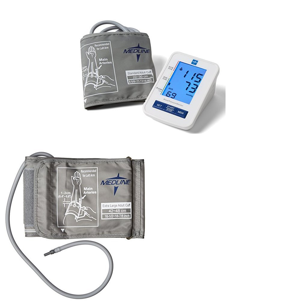 Medline MDS4001 Automatic Digital Blood Pressure Monitor with Standard and X-Large Adult Cuffs