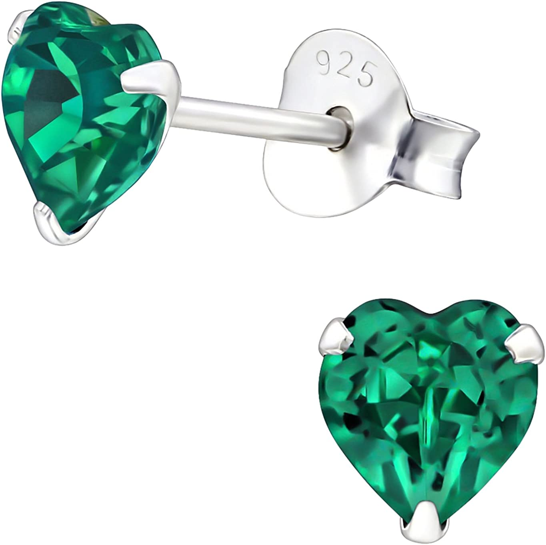 EYS JEWELRY® Pendientes para señora corazón amor 5 x 5 mm Swarovski Elements Cristal plata de ley 925 verde-esmeralda con la caja Pendientes mujer
