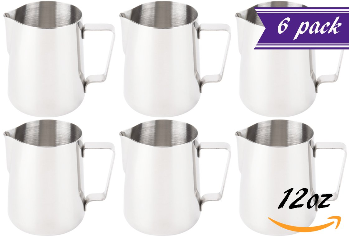 (Set of 6) 20-Ounce Milk Frothing Pitcher, 600 ml. Espresso Steaming Pitcher by Tezzorio, Commercial Grade Stainless Steel Milk Pitchers For Milk Frothers, Latte, Cappuccino Coffee Machines by Tezzorio Tabletop Service