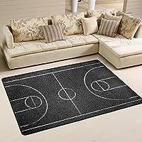 LORVIES Street Basketball Court Area Rug Carpet Non-Slip Floor Mat Doormats for Living Room Bedroom 72 x 48 inches