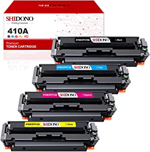 Shidono Compatible Toner Cartridge Replacement for HP 410A 410X Fits with Color Laserjet Pro MFP M477fdw/M377dw/M452dw​/M477fdn/M477fnw/M452dn/M452nw Printer,[4-Pack, Black/Cyan/Yellow/Magenta]
