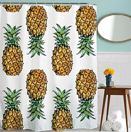 Goodbath Pineapple Shower Curtains, Plant Style Waterproof Polyester Fabric Bathroom Curtains,Standard Size 72 x 72 Inch, Black Yellow -  - shower-curtains, bathroom-linens, bathroom - 61Y7EM6euHL -