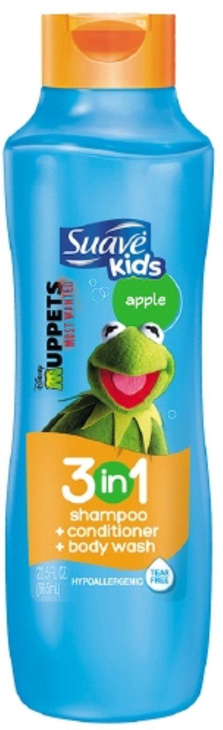 Suave Kids 3 In1 Shampoo, Conditioner & Body Wash Splashing Apple Toss, 22.5 Oz (Pack of 3)
