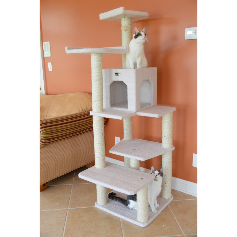 Armarkat Cat tree Furniture Condo Height- 60-Inch to 70-Inch Ivory Condo