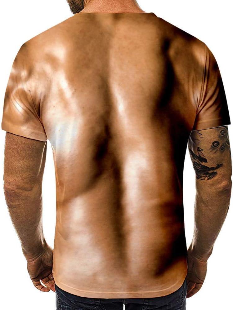 Camiseta de simulación 3D Tatuaje Muscular Aptitud Camiseta Cofre de Cuero Ocasional de los Hombres al Descubierto Las Mangas Cortas Divertida Camiseta (Color : T18 2, Size : XXS): Amazon.es: Ropa y accesorios