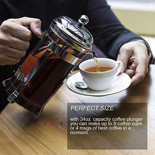 Lovely Home French Press Coffee Maker – 32Oz Coffee and Tea Original French Press – Stainless Steel and Heat Resistant Glass – User-Friendly Design – Perfect Gift for Coffee and Tea Lovers by LovelyHome (Image #3)
