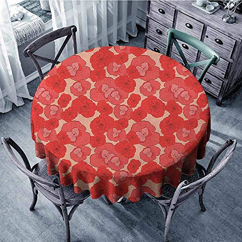 - Print Round Tablecloth Jacquard Tablecloth Pale Pink,Seasonal Gardening Plants Pattern with Red Poppies Natural Ornaments Artwork, Coral Scarlet Diameter 70