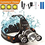 LED Headlamp, Arespark 4 Modes 5000 Lumens Bright Waterproof Flashlight with Rechargeable Batteries, Kids5000 with 3x CREE Headlamp for camping, Running, Hiking, Reading, Outdoor Sports, Wall Charger Car Charger and USB Cable Included