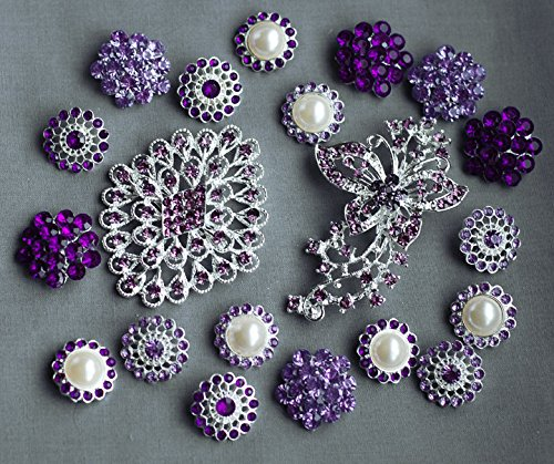 - 20 Purple Rhinestone Button Brooch Assorted Embellishment Pearl Crystal Bouquet Supply Light Lavender Amethyst Eggplant BT160