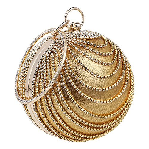 Bling Gold Handbag Women's Bag Wedding Shape Purse Clutch Evening TOOKY Round Rhinestones Party qfnHSxH75