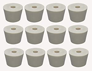 Hobby Homebrew 12 Pack #7 DRILLED Rubber STOPPERS Tapered Bung for Corking Home Brewing Glass Carboys (4620)