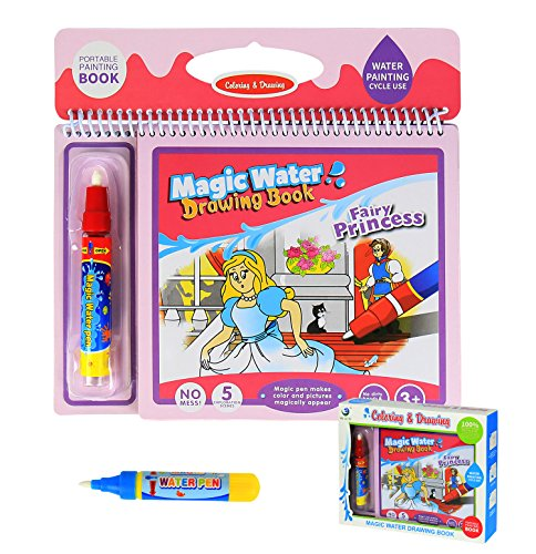 (BBLIKE Magic Water Doodle Board, Water Colouring Doodle Drawing Book for Kids on The Go,Reusable Water Painting Kits with 2 Magic Pen Activity Toy Gift for Boys Girls Age 2 3 4 5 Year Toddler)