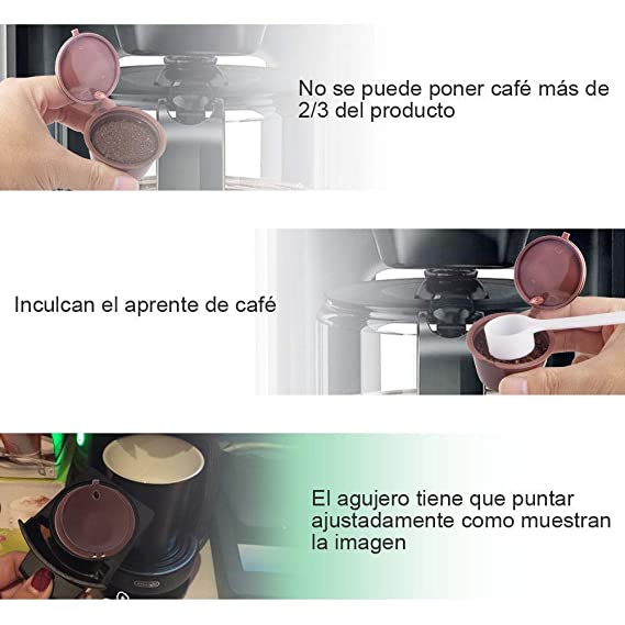 Letilio Filtros Cápsulas de Café puede rellenar reutilizar para Dolce Gusto Cafetera fuerte al menos 160 veces de usos para reemplazo,6 pcs con 2 ...