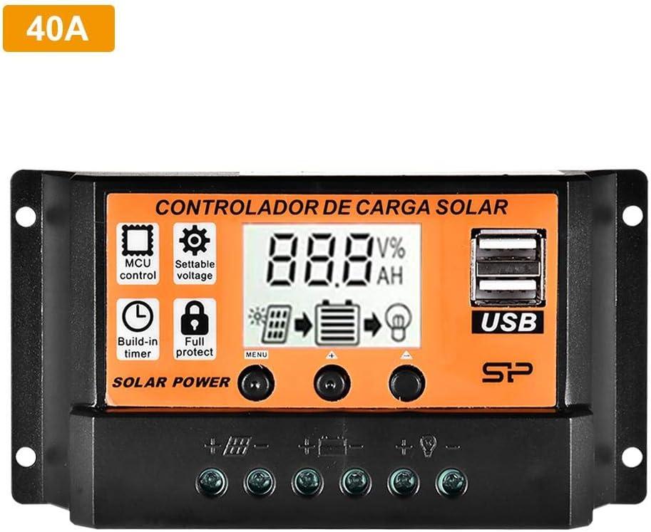 100A LCD Doble USB Regulador De Carga Solar con Pantalla De Temperatura 30A Easy-topbuy Controlador De Carga Solar MPPT 10A Control De Luz 40A Control De Retardo 20A 50A